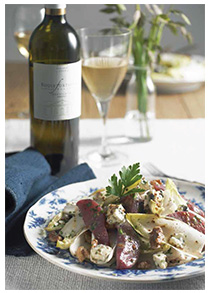 Endive salad with Roquefort, pear & sweet mustard dressing